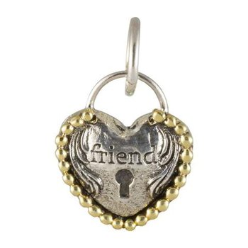 Sterling Silver & Brass Heart Lock Friendship Charm