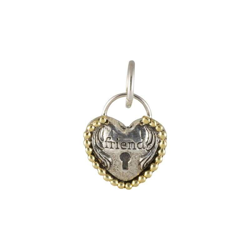 Waxing Poetic Sterling Silver & Brass Heart Lock Friendship Charm