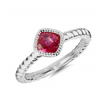 Sterling Silver Created Ruby Ring, Size 7