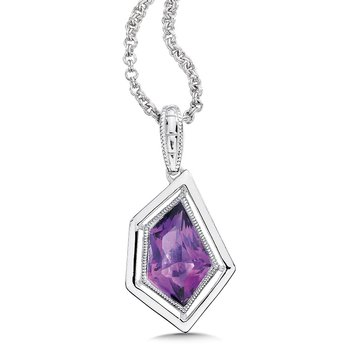 """Sterling Silver Amethyst Pendant with 18"""" Chain"""