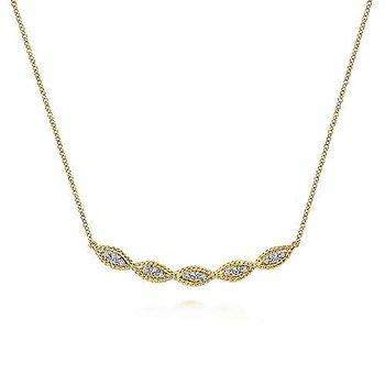 14KY Twisted Curved Diamond Bar Necklace w/ 0.29 ctw
