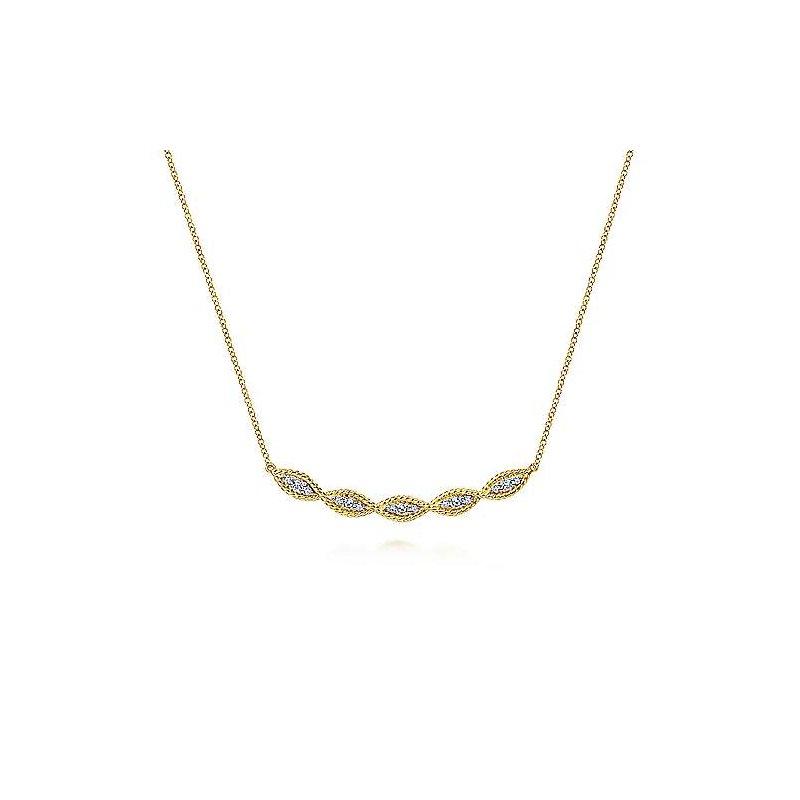 Gabriel & Co. 14KY Twisted Curved Diamond Bar Necklace w/ 0.29 ctw