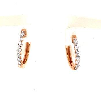 10KR Small Hoop Earrings w/ 0.2 ctw