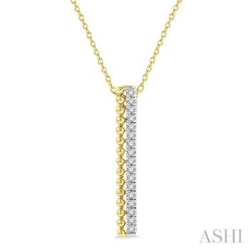 "14KY Diamond Bead Bar Pendant w/ 0.15 ctw, 18"" Chain"