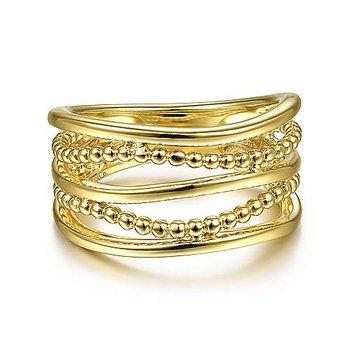 14KY Multi Row Bujukan Bead Curved Ring Size 6.5