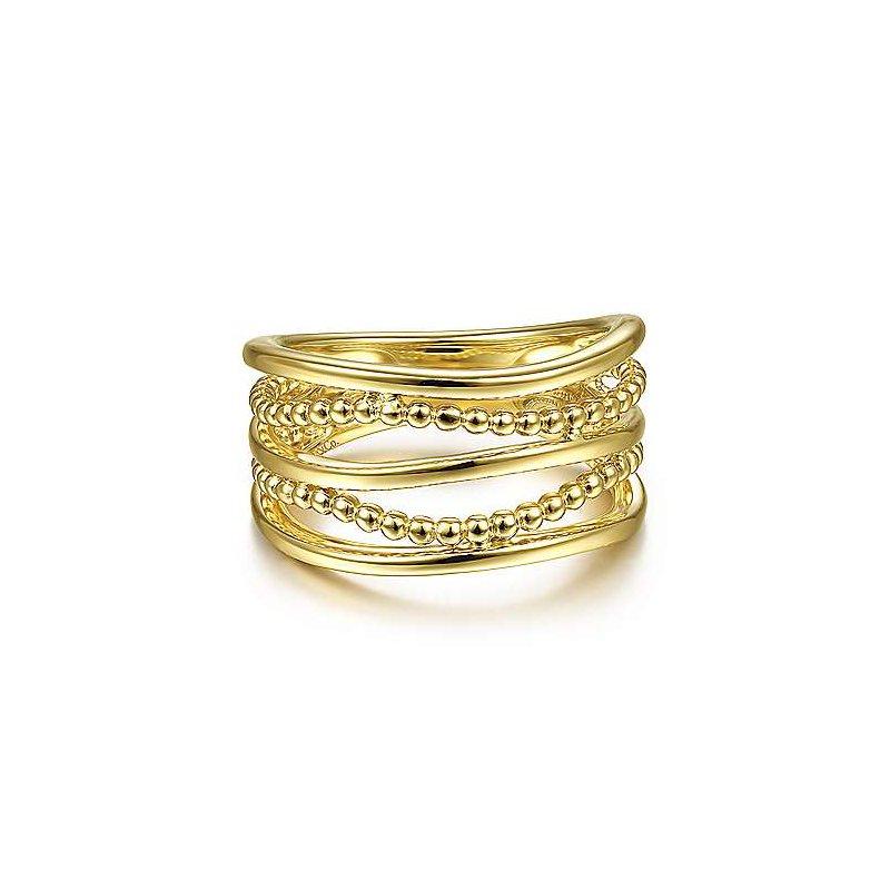 Gabriel & Co. 14KY Multi Row Bujukan Bead Curved Ring Size 6.5