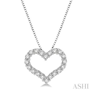 "14KW Diamond Heart Pendant w/ 0.50 ctw, 18"" Box Chain"