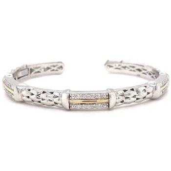 Sterling Silver Diamond Bangle Bracelet w/ 14KY Accents & 0.45 ctw