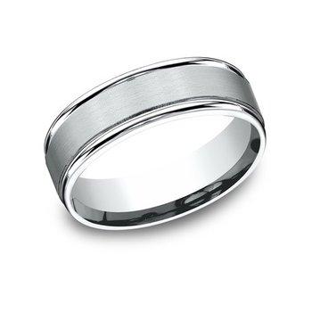 14KW 7 mm Satin Center w/ Round Polished Edge Ring, Size 10