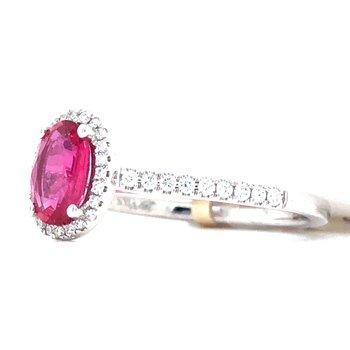 14KW Ruby & Diamond Ring w/ 0.75 ct Ruby & 0.16 ctw Diamonds, Size 7