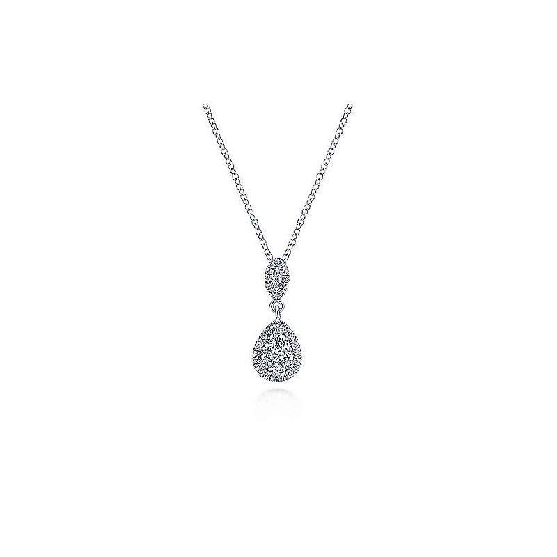 """Gabriel & Co. 14KW Fashion Diamond Necklace w/ 0.33 CTW 18"""" Chain"""