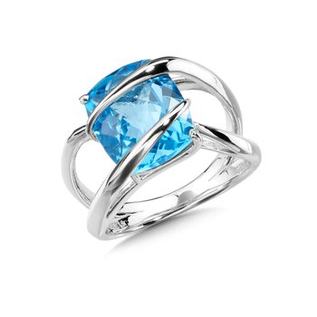 Sterling Silver Blue Topaz Fashion Ring Size 7