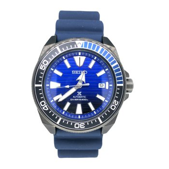 Stainless Steel Eco-Dive Watch w/ Blue Face & Blue Rubber Straps