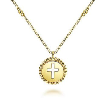 14KY Round Cutout Cross Pendant Necklace w/ Bujukan Beads