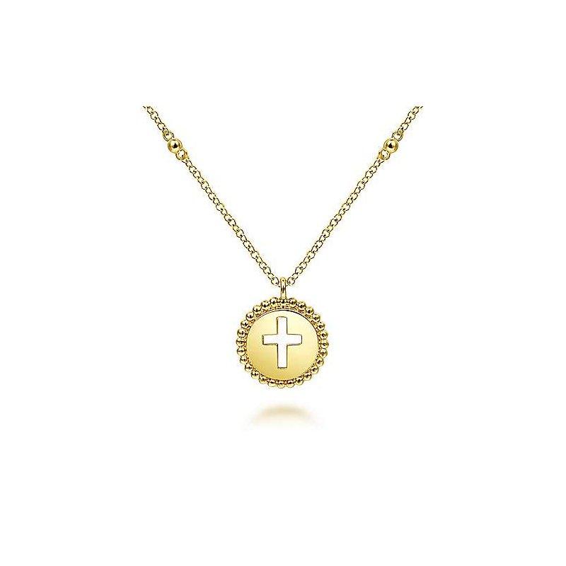 Gabriel & Co. 14KY Round Cutout Cross Pendant Necklace w/ Bujukan Beads