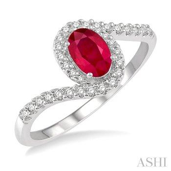 10KW Oval Shape 6 x 4mm Ruby & Round Cut Diamond Fashion Ring w/ 0.20 ctw, Size 7