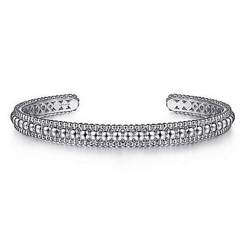 Sterling Silver Bujukan Beaded Open Bangle Bracelet