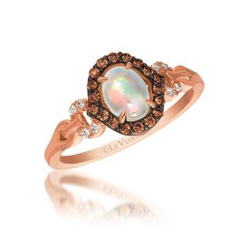 14KR Opal & Diamond Ring w/ 0.21 ct Dia. & 0.4 ct Opal, Size 7