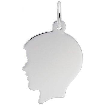 Sterling Silver Boy's Head Charm
