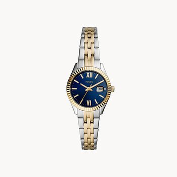Two-Tone Watch with Blue Face