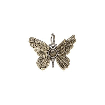 Brass & Sterling Silver Ascension Butterfly Pendant w/ Swarovski Crystals
