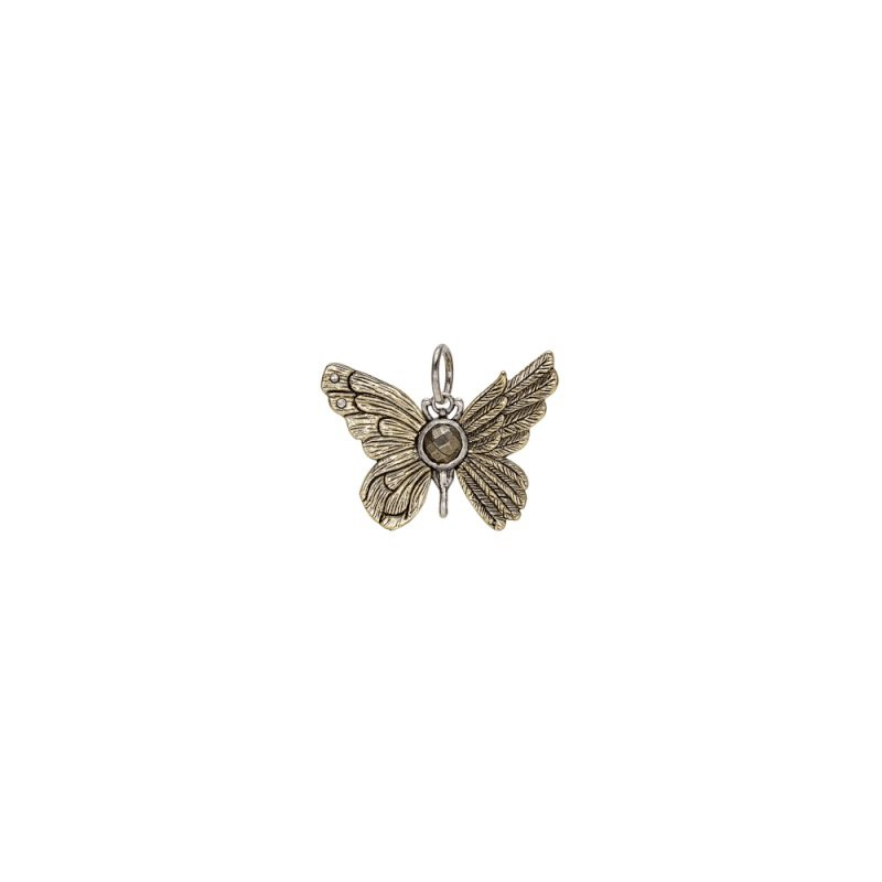 Waxing Poetic Brass & Sterling Silver Ascension Butterfly Pendant w/ Swarovski Crystals