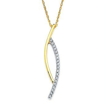 14K Two-Toned Open Bypass Pendant w/ 0.19 ctw