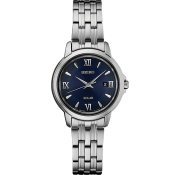 Stainless Steel Solar Watch w/ Date Marker and Blue Face