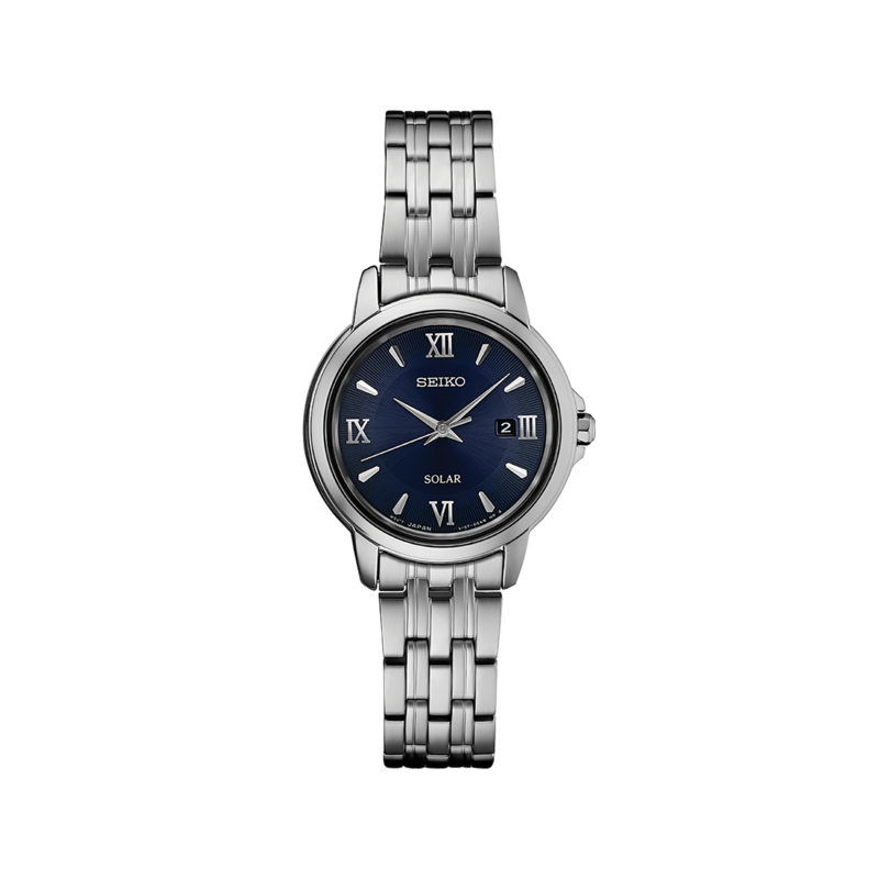 Seiko Watches In Stock Stainless Steel Solar Watch w/ Date Marker and Blue Face