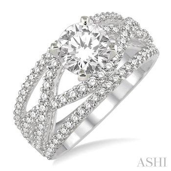 14KW Diamond Semi-mount Engagement Ring w/ 0.75 ctw, Size 6.5