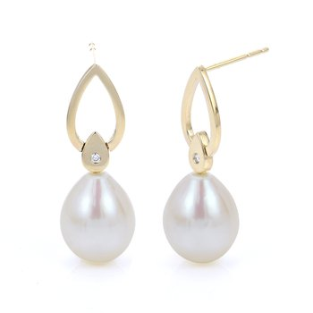 14KY Fresh Water Cultured Pearl and Diamond Earrings w/ 9 -- 10 mm Pearls