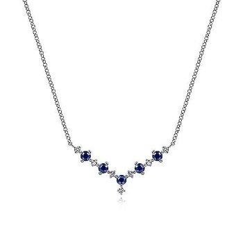 14KW Diamond & Sapphire Necklace w/ 0.12 ctw
