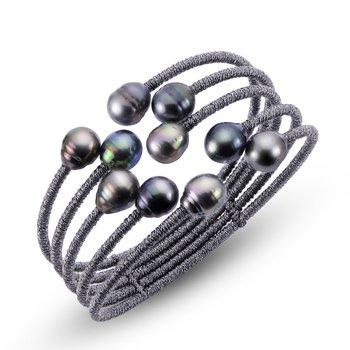 Dark Grey Cord Bangle w/ Tahitian Pearls