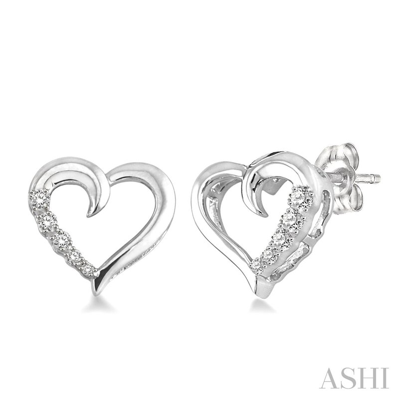Green Brothers Collection Sterling Silver Diamond Hearts Journey Earrings w/ 0.04 ctw