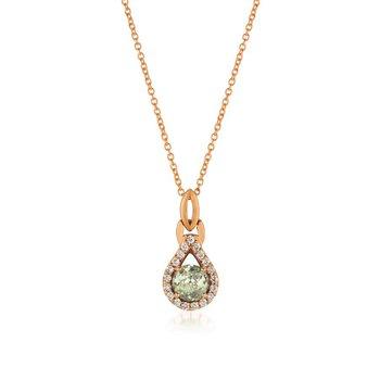 """14KR Mint Julep Quartz and Diamond Pendant w/ 0.16 ctw Dia & 0.50 ctw Quartz, 18"""" Chain"""