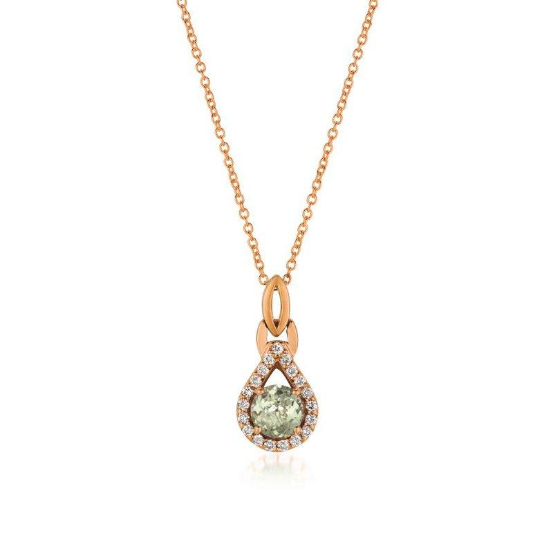 """Le Vian In Stock 14KR Mint Julep Quartz and Diamond Pendant w/ 0.16 ctw Dia & 0.50 ctw Quartz, 18"""" Chain"""