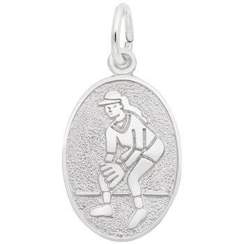 Sterling Silver Female Softball Charm