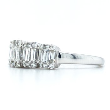 14KW Diamond Baguette Anniversary Ring w/ 1.0 ctw