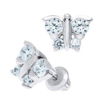 Sterling Silver White CZ Butterfly Earrings