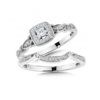 14KW Princess Engagement Ring and Matching Band w/ 0.25 ctw Size 7