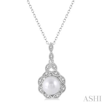 """Sterling Silver Pearl and Diamond Pendant w/ 6.5 mm Pearl & 0.05 ctw Dia.,18"""" Chain"""