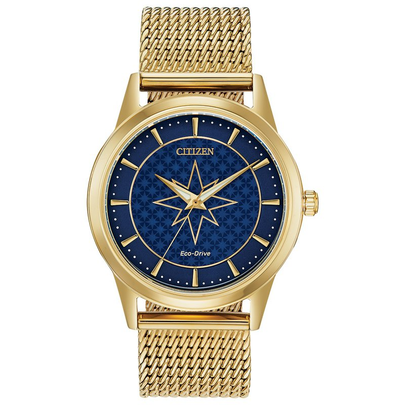 Citizen Watches in Stock Stainless Steel Yellow Tone Marvel Collection (Captain Marvel) Eco-Drive Watch