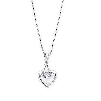 "Sterling Silver Diamond Heart Pendant w/ 0.01 ctw, 18"" Chain"