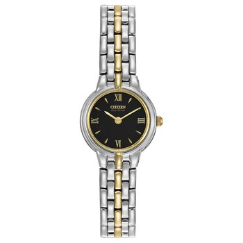 Stainless Steel Two-Tone Eco-Drive Silhouette Watch w/ Black Face
