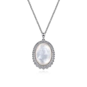 """Sterling Silver Rock Crystal and White Mother of Pearl Pendant Necklace 17.5"""""""