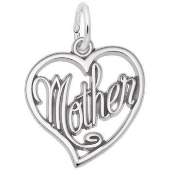 """Sterling Silver Heart """"Mother"""" Charm"""