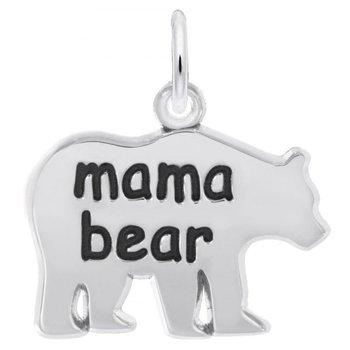 "Sterling Silver ""Mama Bear"" Bear Charm"