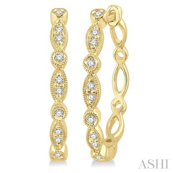 10KY Diamond Hoop Earrings w/ 0.15 CTW
