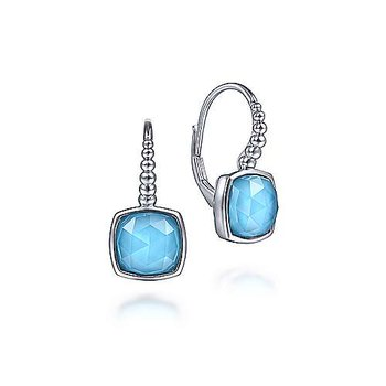 Sterling Silver Rock Crystal and Turquoise Leverback Earrings