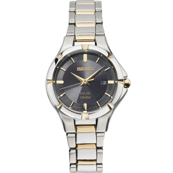 Stainless Steel Two Tone Solar Watch w/ Date Calendar and Black Face
